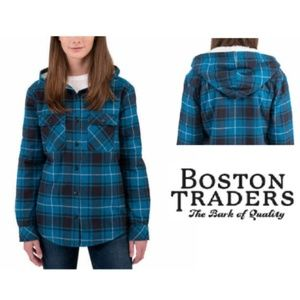 Boston Traders Sherpa Lined Hooded Flannel Jacket